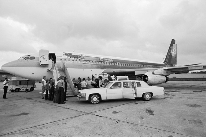 Boarding the Led Zeppelin airplane at Oklahoma City airport in 1978