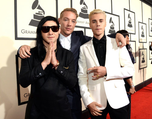 Skrillex, Diplo & Justin Beiber (photo by Kevin Mazur)