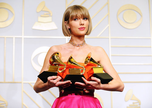 Taylor Swift backstage at the Grammys.