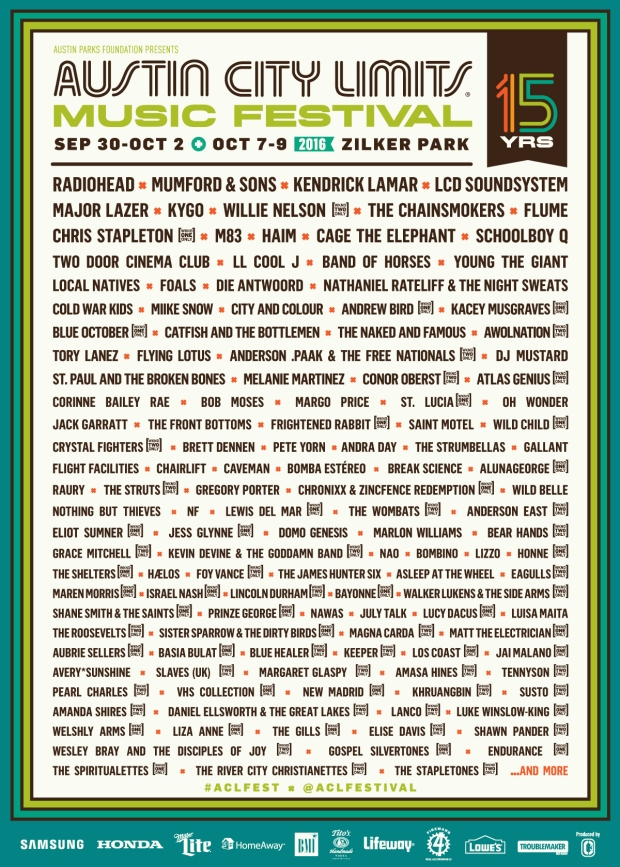 ACL Fest 2016 Lineup
