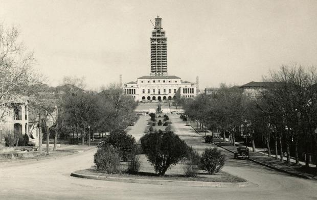 The UT Tower being constructed, circa 1936 (photo via Austin History Center)